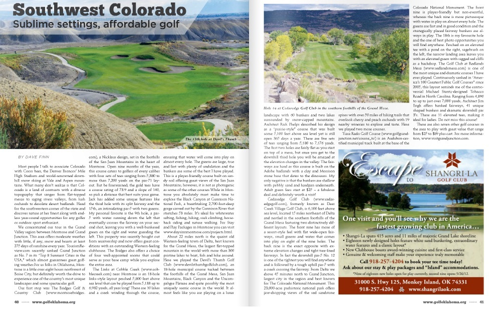 Southwest Colorado featured in April 2012 Golf Oklahoma Magazine.