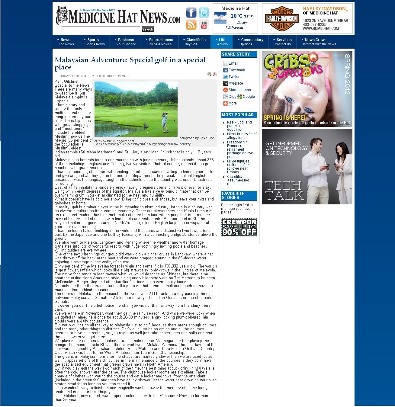Malaysia - Medicine Hat News Dec 2011