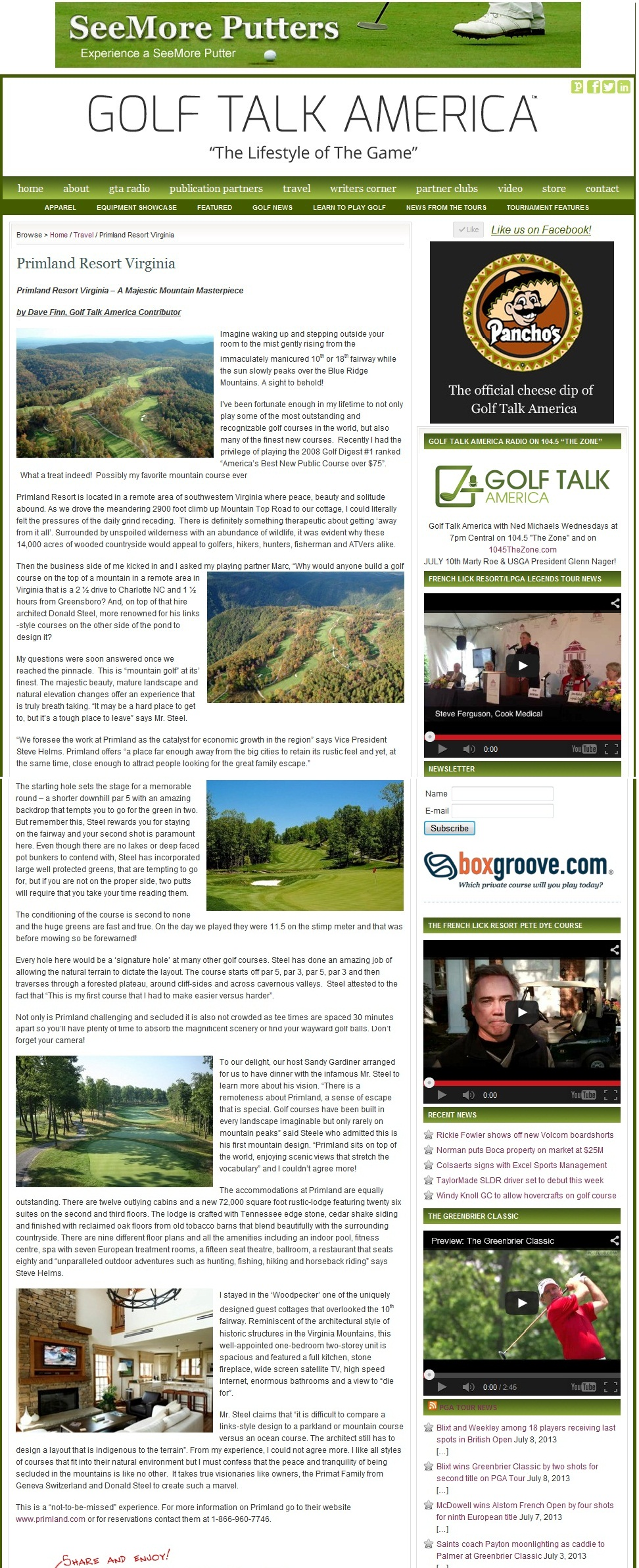 Virginia - Primland for Golf Talk America July 2013