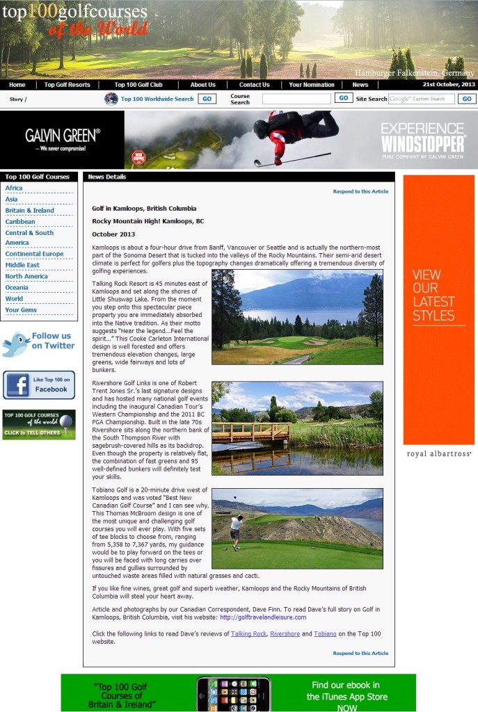 BC - Kamloops Top 100 Golf Courses - Oct 2013