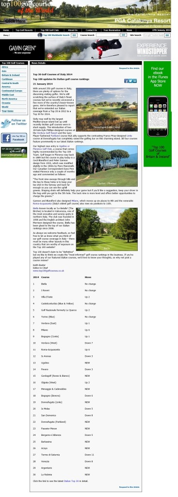 Top 100 Golf Courses in the World's Top 30 Golf Courses in Italy
