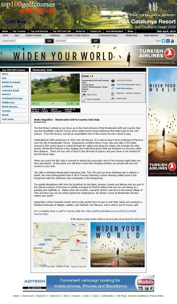 Italy - Montecatini for Top 100 Golf Courses in the World