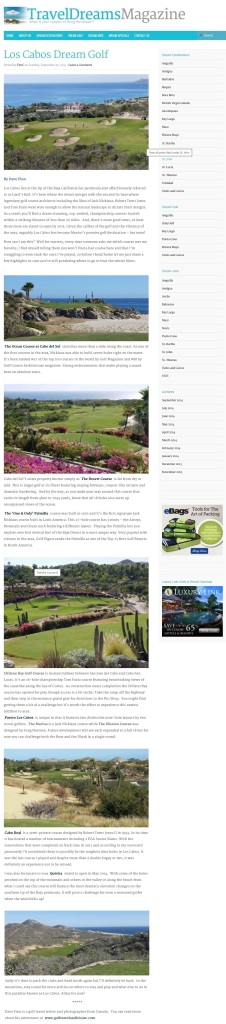 Los Cabos Dream Golf for Travel Dreams Magazine