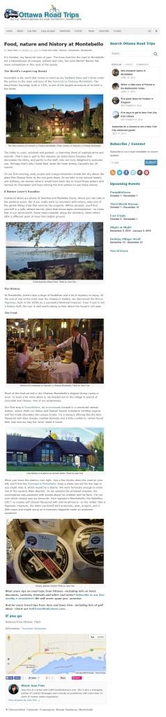 Montebello story for Ottawa Road Trips