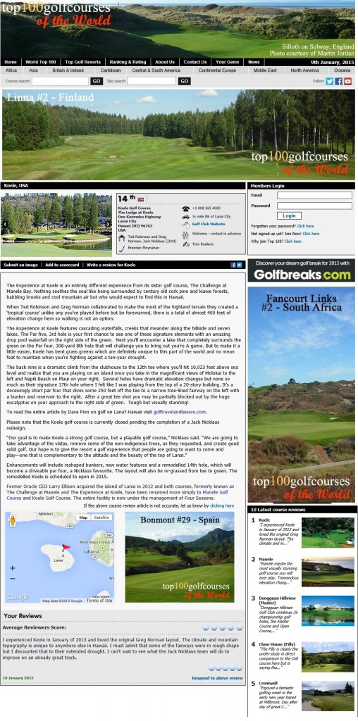 Koele Golf Club Lanai Hawaii