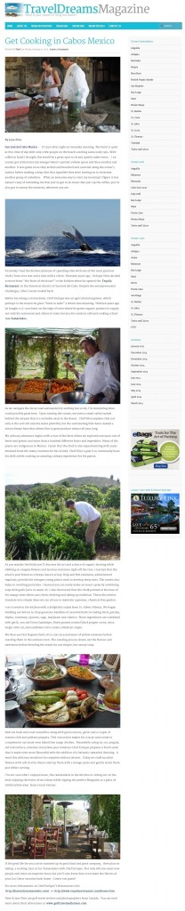 Mexico - Get Cooking in Cabos for Travel Dreams Magazine Jan 2015