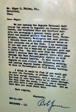 Bobby Jones original letter about the first Master